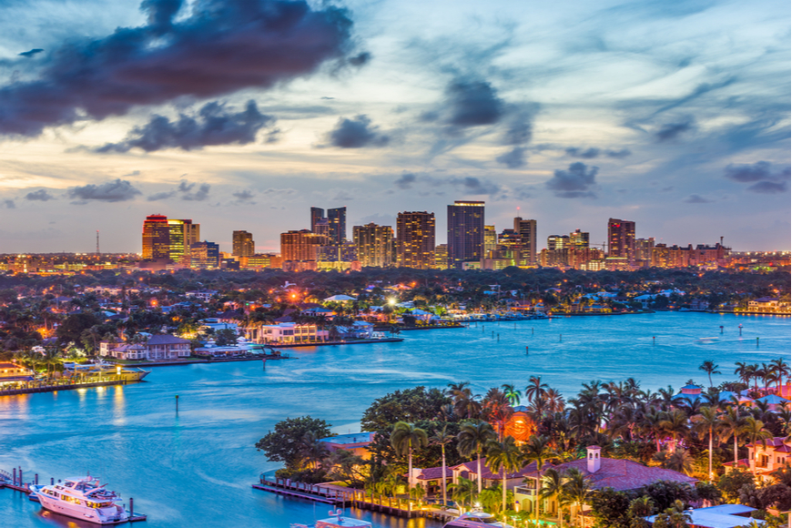 fort lauderdale skyline at night.
