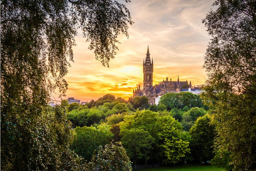 glasgow university scotland sunset.