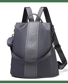 Grey backpack with pom pom