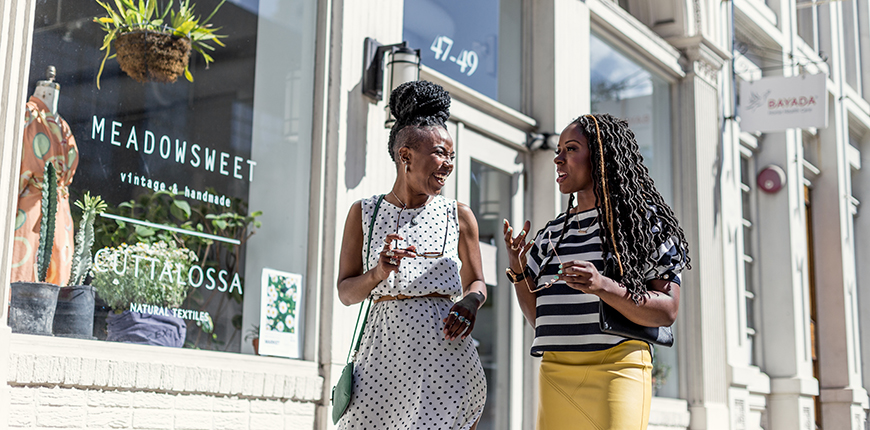two women shopping in old city philadelphia.