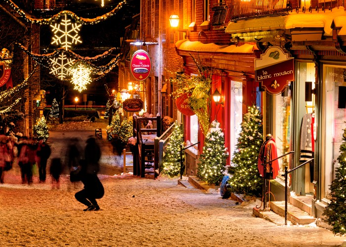 quebec city at night with holiday decorations.