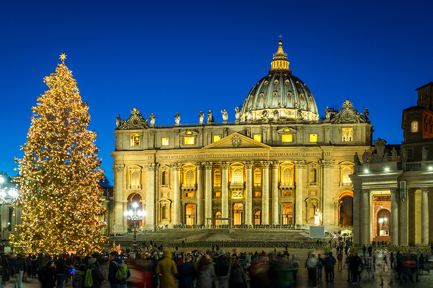 christmas tree in front of st peters basilica rome.