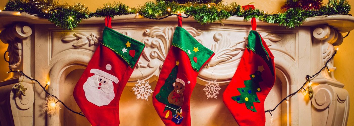 stockings hanging at fireplace