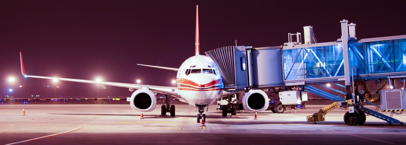 airplane boarding at night