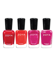 Pink and red nail polish set