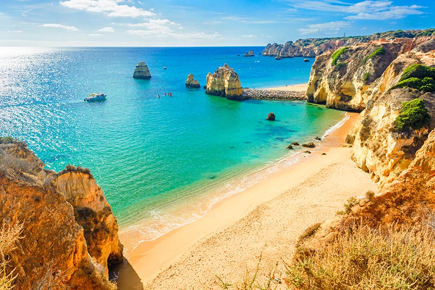 beach near lagos algarve portugal.