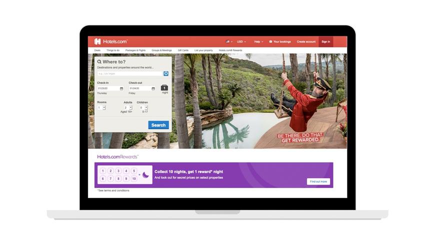 hotels.com screenshot for booking hotels