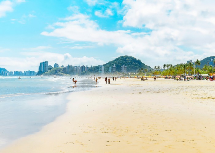 Brazilian seacoast, Praia da Enseada beach at Guaruja SP, Brazil.