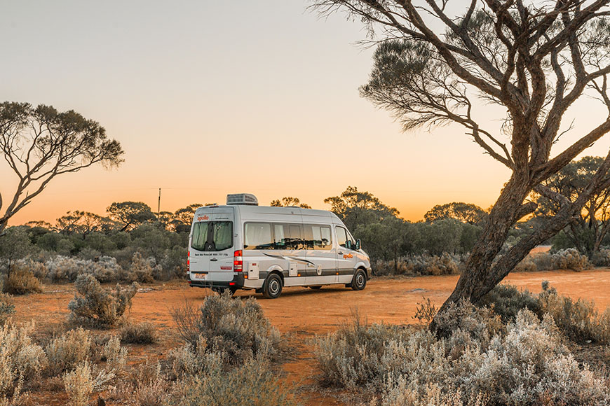 campervan in Australian bush.