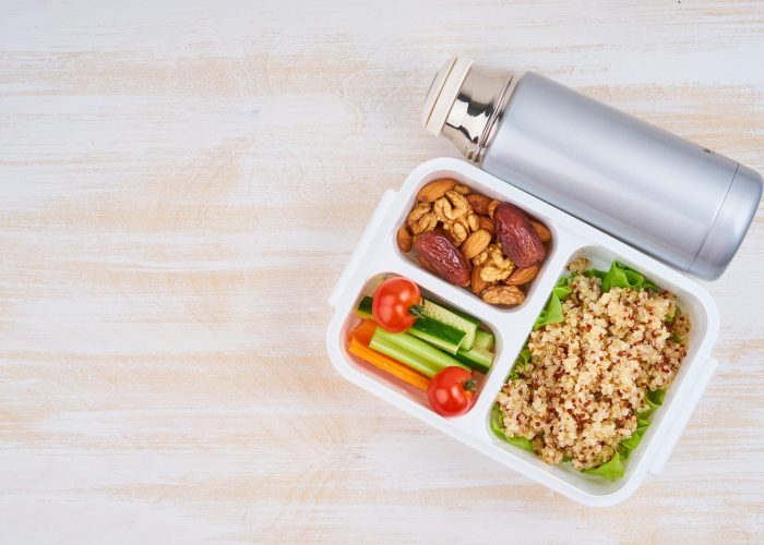 packaged lunch with reusable water bottle