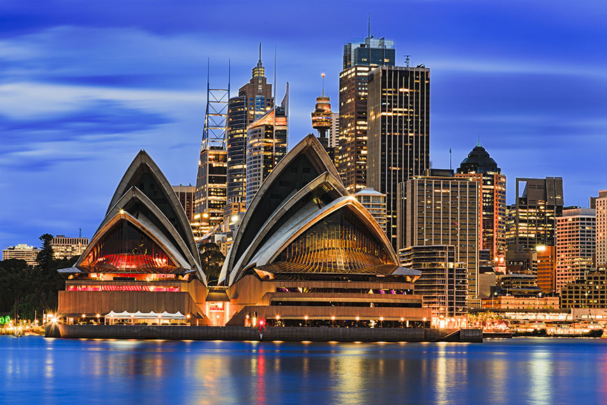 sydney opera house and skyline.