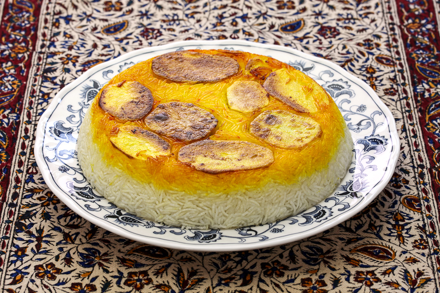 tahdig de pommes de terre, cuisine iranienne