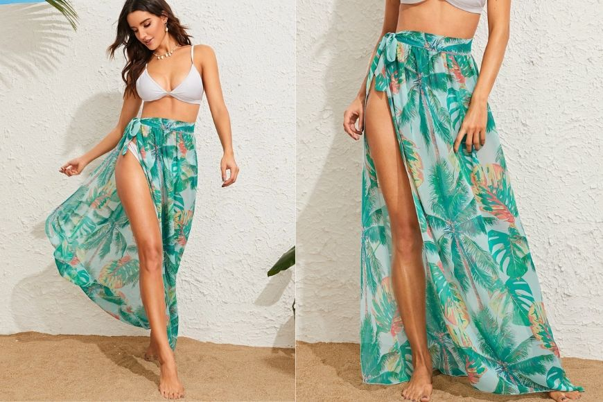 SHEIN Tropical Tie Waist Cover-up Skirt.