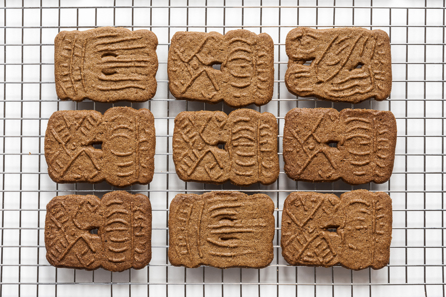 A stack of fresh baked dutch cookies called speculaas.