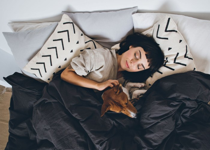 woman and dog in bed.