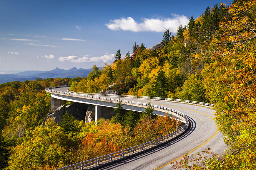 blue ridge parkway in fall.