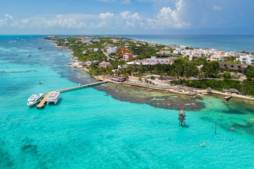 aerial view of isla mujeres in mexico.
