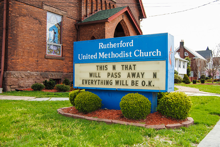 Sign on the lawn of the Rutherford United Methodist Church during the novel coronavirus (COVID-19) pandemic.
