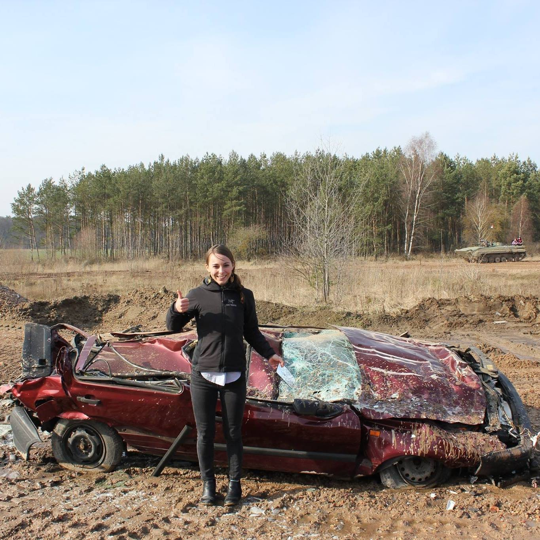 Crushing a car in a tank