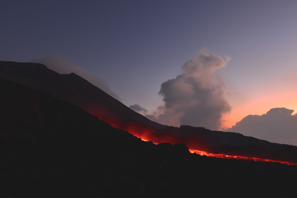 volcanic explosion at night