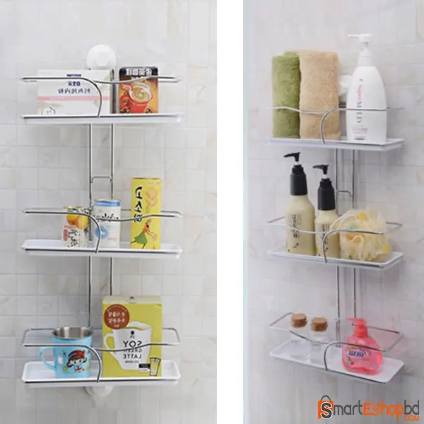 Triple Tier Shelves Bathroom Sucker Suction Cup Shelf Bathroom Accessories