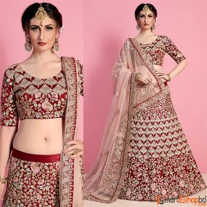 Maroon Velvet Embroidered Bridal Lehenga Choli