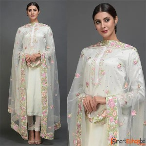 Pearl White Embroidered Suit