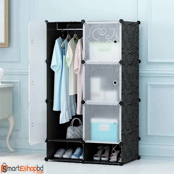6 cube plastic wardrobe with shoe rack