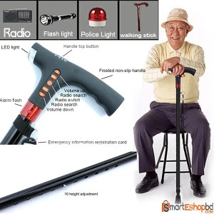 Smart FM Radio Old Man Woman Walking Stick Lighting Alarm