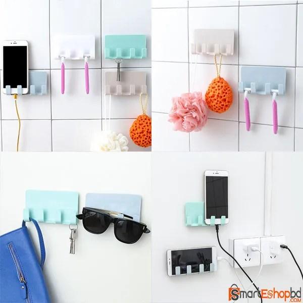 Multipurpose Wall Phone Holder Socket Charging Box Bracket Stand Holder Shelf Mount Support Universal for Mobile Phone Tablet