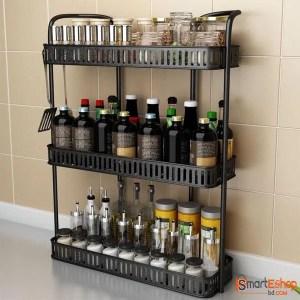 3 Tier Kitchen Spice Rack Wall Mounted Storage Rack Iron Home Seasoning Holder Organizer Kitchen Shelf Pantry