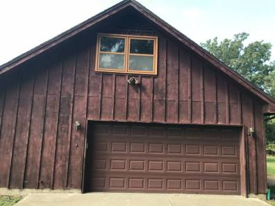 garage with old siding
