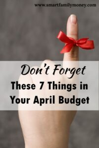 This is a great list to help me prepare for my April budget!