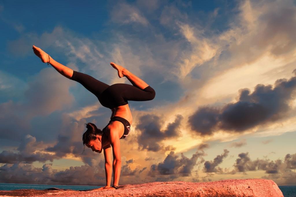 Woman doing yoga wearing cheaper leggings like Lululemon