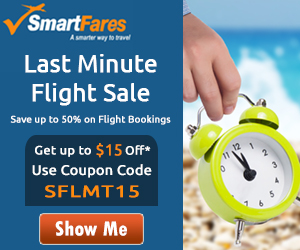 Spectacular Last Minute Flight Deals. Book Now and Get Up To $15 Off with Coupon Code