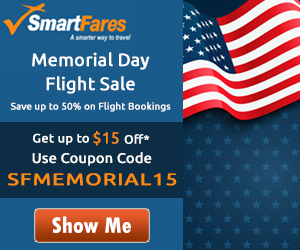 Mind-Blowing Memorial Day Travel Sale. Book now and get up to $15 off with coupon code: SFMEMORIAL15