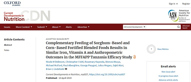 Complementary Feeding of Sorghum-Based and Corn-Based Fortified Blended Foods Results in Similar Iron, Vitamin A and Anthropometric Outcomes in the MFFAPP Tanzania Efficacy Study