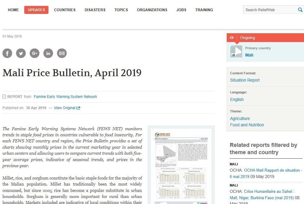 Mali Price Bulletin, April 2019