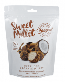 Extruded Millet Ball Covered with Milk Chocolate and Coconut