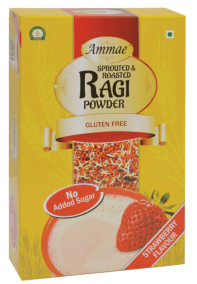 Sprouted and Roasted Ragi Powder Strawberry Flavour by Ammae