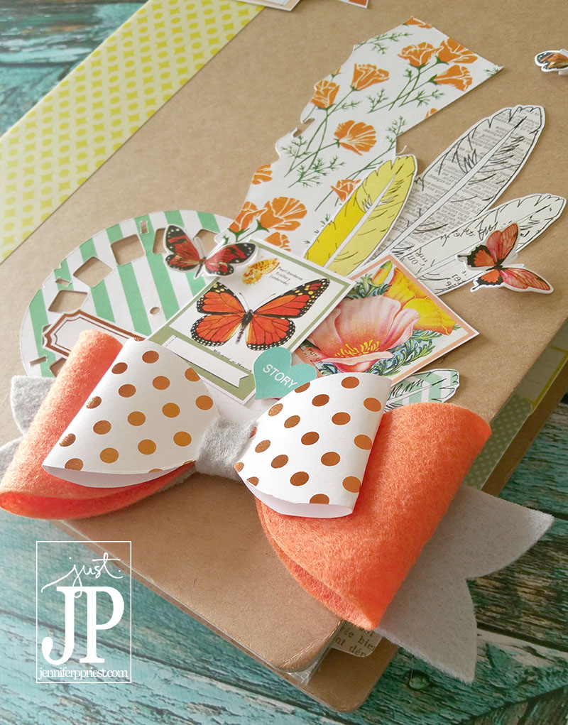 California travel album by Jennifer Priest featuring Pretty Little Studio California poppy diecuts.