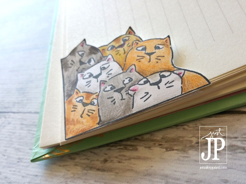 Cat Bookmark Art Impressions Tombow JPriest | Make these fun cat themed corner bookmarks using a stamp., Tombow colored pencils, and a business envelope. Jennifer Priest shares how in this video tutorial.