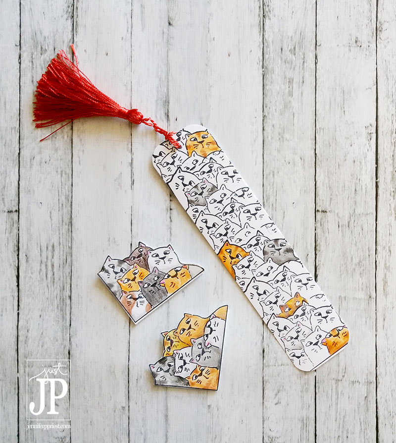 Use a masking technique with stamps to create a repeating, overlapped pattern with any stamp. These cat bookmarks were made with this technique and then colored with colored pencils.