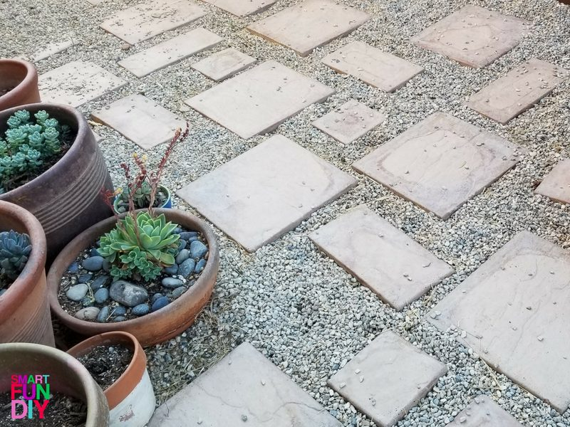 pavers in gravel patio