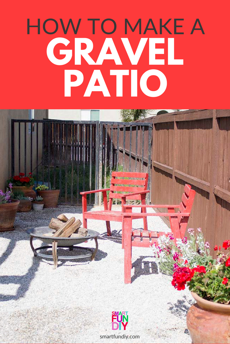 long pin graphic with photo of gravel patio