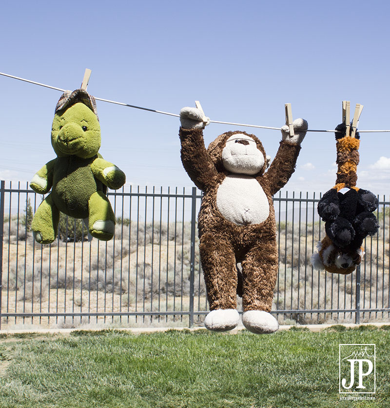 Hang Stuffed toys on the line after washing.
