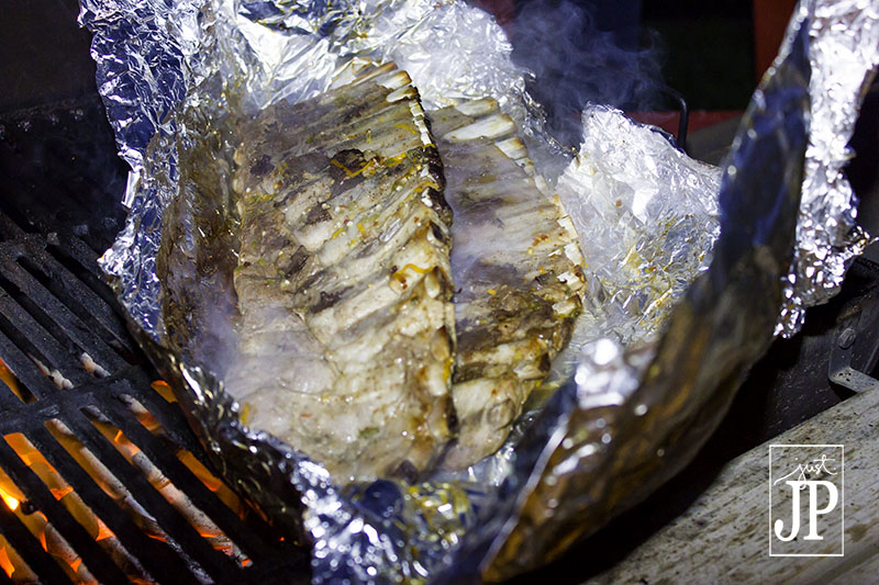 Wrap ribs in foil to cook on the grill JPriest