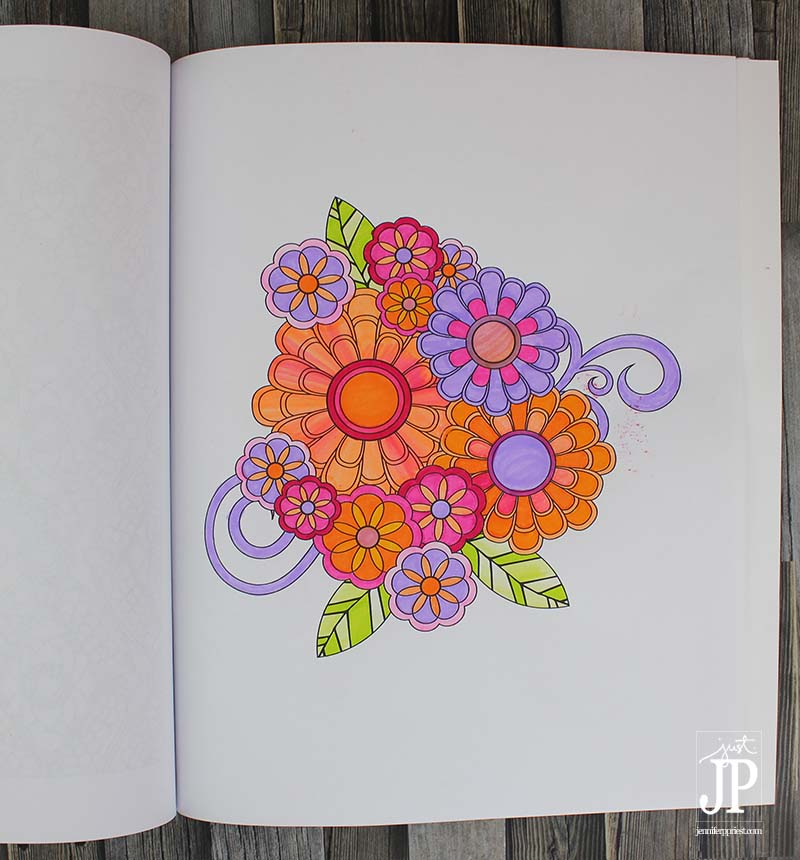 Coloring Book Page by Jennifer Priest - Jenean Morrison FLOWERS with Tombow Dual Brush Pens JPriest