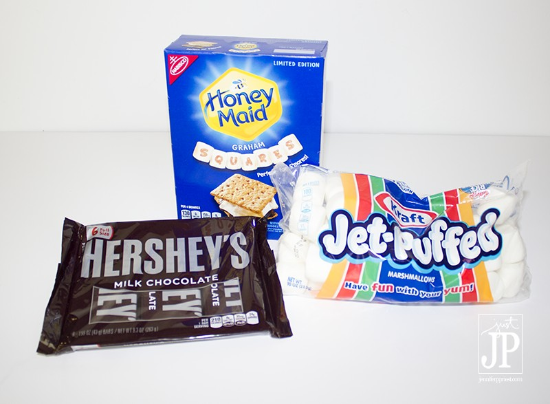 Hersheys Chocolate Bars Honey Maid Graham Crackers Jet Puffed Marshmallows Ingredients SMORES - JPriest