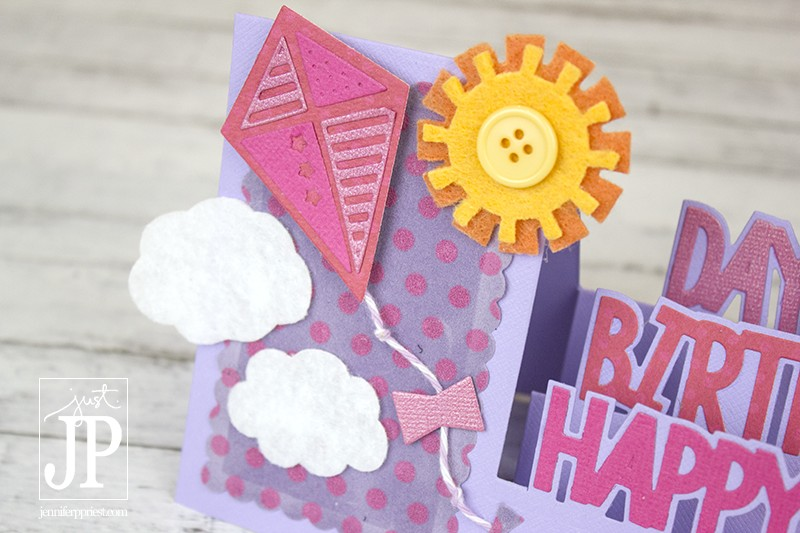 Create a 3D Popup birthday card using Sizzix Framelits and felt fabric - Jennifer Priest shares a video on how to do it. Check it out!